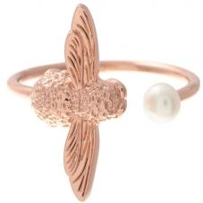 Olivia Burton Pearl Bee Rose Gold Plated Open Ring OBJ16AMR09