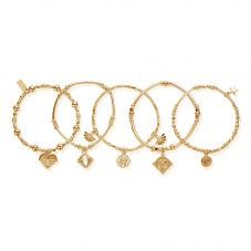 ChloBo Ariella Gold Plated Ariella Stack Of 5 Bracelet GBSTA5A