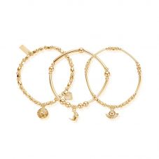 ChloBo Ariella Gold Plated Venetian Goddess Set Of Three Bracelets GBSTA3A