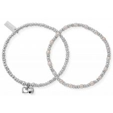 ChloBo Confetti Falls Forever Love Set of Two Silver and Freshwater Pearl Bracelets SBSETFOREVER