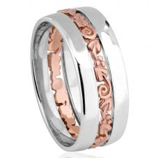 Clogau Silver 9ct Rose Gold Tree Of Life Band Ring 3SETOLR4