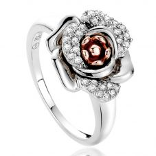 Clogau Silver 9ct Rose Gold White Topaz Ring 3SRMR