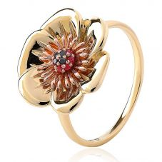 Clogau 9ct Gold Welsh Poppy Diamond Ruby Ring WPPR/O