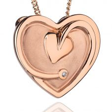 Clogau 9ct Rose Gold Tree Of Life Diamond Heart Pendant TLDP