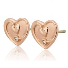 Clogau 9ct Rose Gold Tree Of Life Diamond Heart Stud Earrings TLDSE