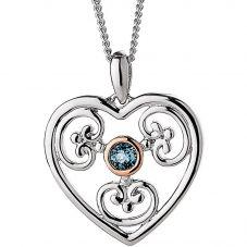 Clogau Kensington Blue Topaz Heart Pendant Necklace 3SKHP02