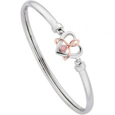 Clogau Silver 9ct Rose Gold Dwynwen Opal Heart Bangle 3SDWB