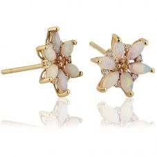 Clogau 9ct Gold Two Colour Opal And Diamond Snowdon Lily Earrings OSLSE