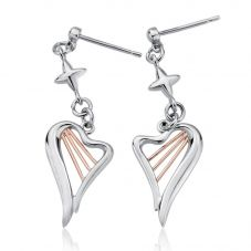 Clogau Silver 9ct Rose Gold Heartstrings Earrings 3SHSE02