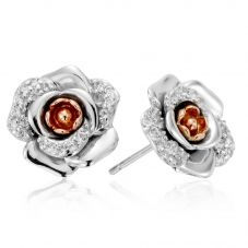 Clogau Silver Rose White Topaz Earrings 3SRME