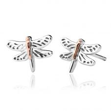 Clogau Silver 9ct Rose Gold Damselfly Stud Earrings 3SDFE04