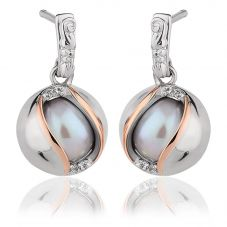 Clogau Silver 9ct Rose Gold Two Colour Freshwater Pearl White Topaz Earrings 3SSPE