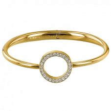 Tommy Hilfiger Gold Plated Open Circle Crystal Hinged Bangle 2780065