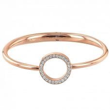 Tommy Hilfiger Rose Gold Plated Open Circle Crystal Hinged Bangle 2780066