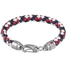 Tommy Hilfiger Stainless Steel Red White and Blue Braided Leather Bracelet 2790046