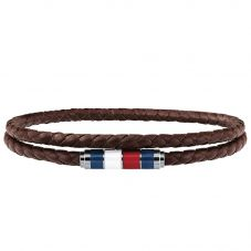 Tommy Hilfiger Stainless Steel Enamel Double Brown Leather Bracelet 2790055