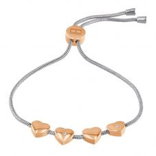 Tommy Hilfiger Stainless Steel Rose Gold Plated Crystal Heart Toggle Bracelet 2780122