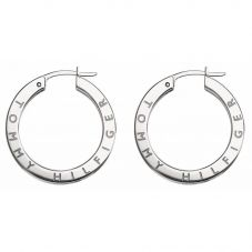 Tommy Hilfiger Silver Crystal Logo Hoop Earrings 2780205