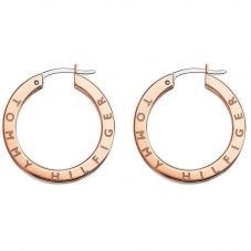 Tommy Hilfiger Stainless Steel Rose Gold Crystal Logo Hoop Earrings 2780207