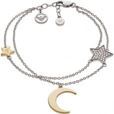 Emporio Armani Sterling Silver Cubic Zirconia Star And Moon Double Bracelet EG3359040