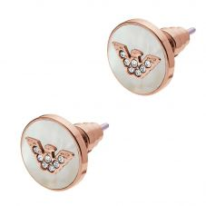 Emporio Armani Ladies Rose Tone Logo Earrings EGS2311221