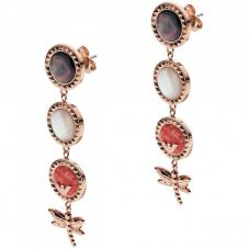 Emporio Armani Caged Rose Gold Plated Multistone Dragonfly Dropper Earrings EGS2559221