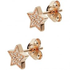 Emporio Armani Rose Gold Plated Clear Cubic Zirconia Star Stud Earrings EG3365221
