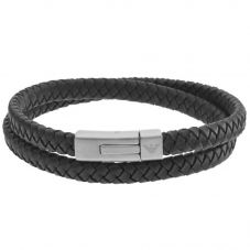 Emporio Armani Mens Double Black Leather and Stainless Steel Woven Bracelet EGS2176040