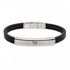 Emporio Armani Black Leather & Stainless Steel Logo Bracelet EGS2656040