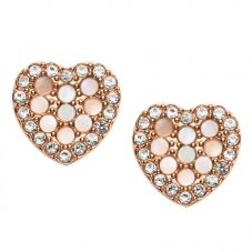 Fossil Vintage Glitz Rose Gold Plated Mother Of Pearl Heart Stud Earrings JF03162791