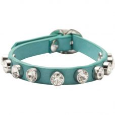 Fossil Aqua Blue CZ Leather Bracelet JA5869040