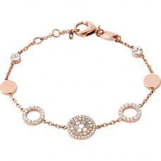 Fossil Vintage Glitz Rose Gold Plated Pearl Crystal Bracelet JF01739791