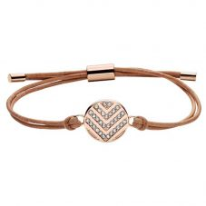 Fossil Vintage Glitz Brown Leather and Rose Gold-plated Cubic Zirconia Chevron Disc Toggle Bracelet JF02746791