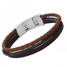 Fossil Casual- Brown Triple Leather Bracelet JF02213040