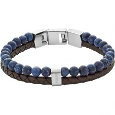 Fossil Mens Vintage Casual Blue Bead Brown Leather Bracelet Jf02830040