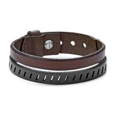 Fossil Mens Vintage Casual Double Leather Bracelet Ja6927040