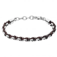 Fossil Vintage Casual Black Leather And Stainless Steel Bracelet JF02936040