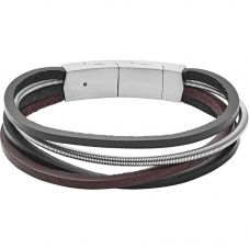 Fossil Vintage Stainless Steel Brown And Black Leather Bracelet JF03002040