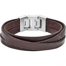Fossil Vintage Stainless Steel Multi Brown Leather Bracelet JF02999040