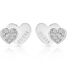 Guess Me And You Crystal Double Heart Stud Earrings UBE84118