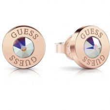 Guess Shiny Crystals Rose Plated Round Earrings UBE78096