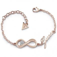 Guess Endless Love Rose Gold Plated Crystal Infinity Bracelet UBB85066-L