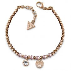 Guess Rose Plated Uptown Chic Pink Pearl Logo Coin Bracelet UBB28051-L