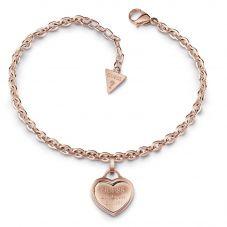 Guess Rose Plated Follow My Charm Framed Heart Bracelet UBB28026-L