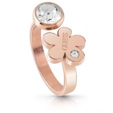 Guess Flower Garden Crystal Rose Plated Ring UBR78024