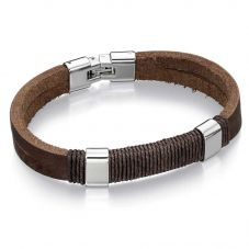 Fred Bennett Stainless Steel Brown Leather Cord Bracelet B4558
