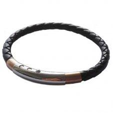 Fred Bennett Rose Gold Plated Steel Black Leather Bracelet B4687