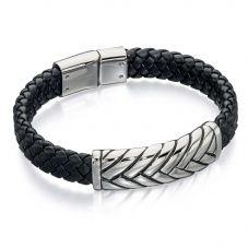 Fred Bennett Mens Black Leather Plait Bracelet B4722