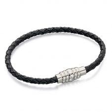 Fred Bennett Stainless Steel Black Leather Magnetic Bracelet B4726