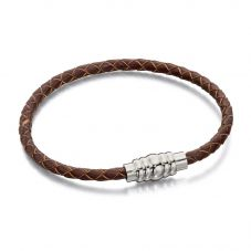 Fred Bennett Mens Brown Leather Magnetic Clasp Bracelet B4727
